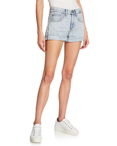 Mid-Rise Frayed Denim Boyfriend Shorts