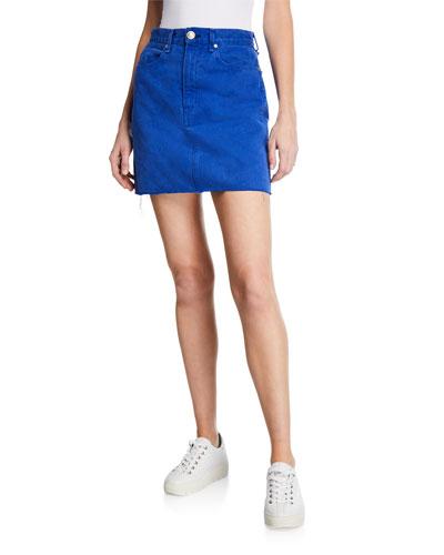 Moss Denim Mini Skirt with Pockets