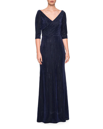 V-Neck 3/4-Sleeve Striped Velvet & Rhinestone Column Gown