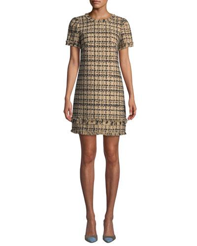 Bicolor Tweed Crewneck Short-Sleeve Mini Dress w/ Fringe Trim