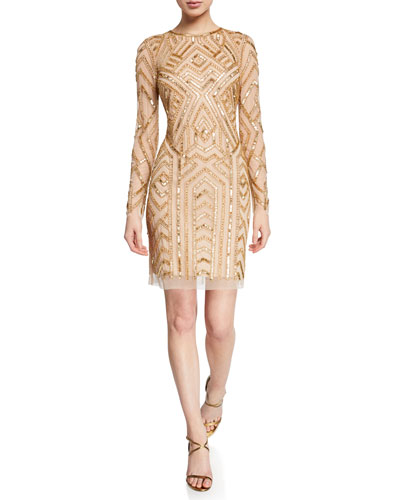 Long-Sleeve Geometric Hand-Beaded Mini Cocktail Dress