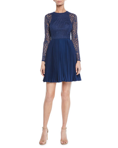 Crewneck Bracelet-Sleeve Illusion Lace Mini Dress w/ Pleated Skirt