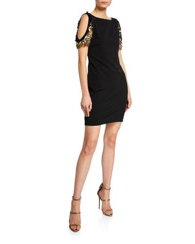 Boat-Neck Cold-Shoulder Sheath Dress w/ Beaded Fringe Sleeves