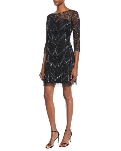 Bateau-Neck 3/4-Sleeve Chevron-Beaded Cocktail Dress