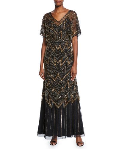 V-Neck Short-Sleeve Beaded Blouson A-Line Gown w/ Keyhole Back