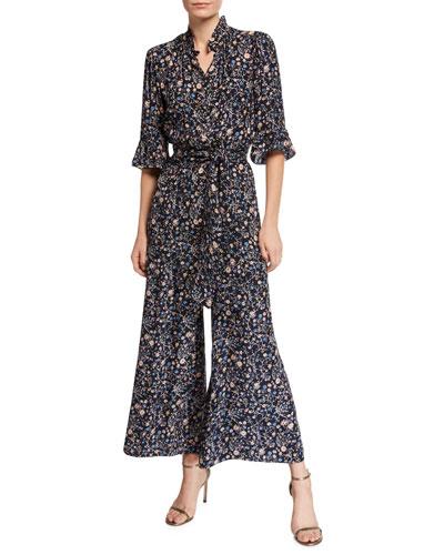 7609499de5c1 Quick Look. Rebecca Taylor · Vivianna Long-Sleeve Floral-Print Silk Jumpsuit