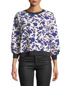 PINKO Cropped Floral-Print Crewneck Sweatshirt and Matching Items