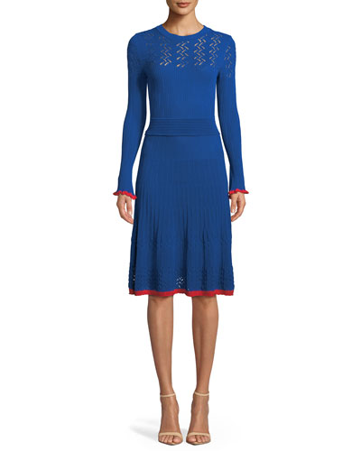 b92af93540c Blue Long Sleeve Midi Dress