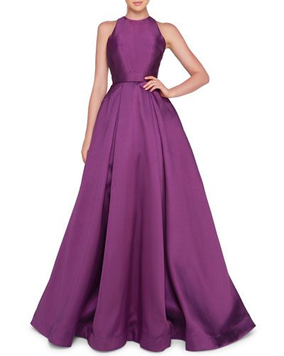 High-Neck Sleeveless Ball Gown with Bow Accent