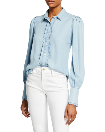 e4c147a6ff Quick Look. FRAME · Scalloped Button-Front Denim Top