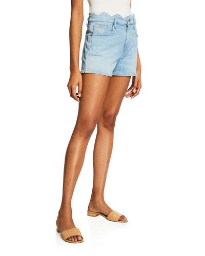 Scallop-Edge Denim Shorts