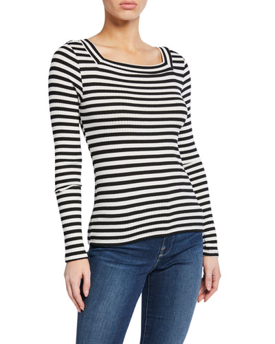Striped Bateau-Neck Long-Sleeve Top