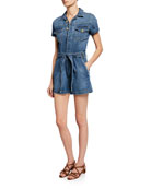 FRAME Pleated Denim Coverall Romper