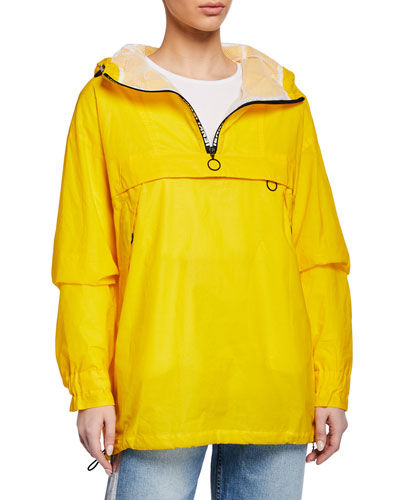 Hooded Anorak Jacket w/ Zip Pocket