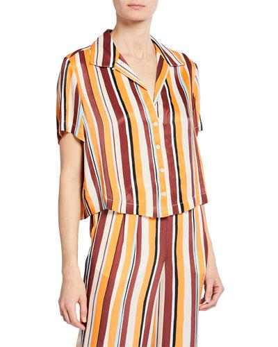 Mini Striped Button-Front Short-Sleeve Shirt