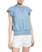 FRAME Smocked Flounce Button-Front Popover Blouse