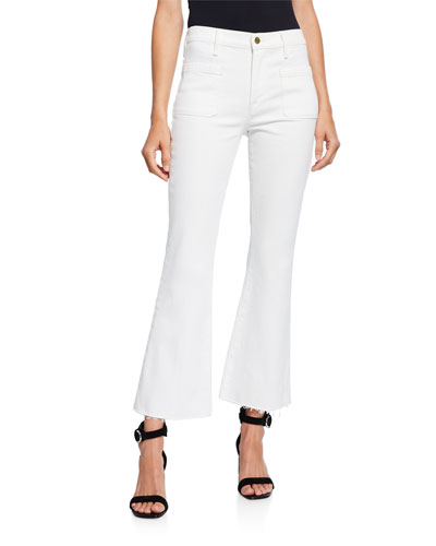 Le Bardot Cropped Flare Raw-Edge Jeans
