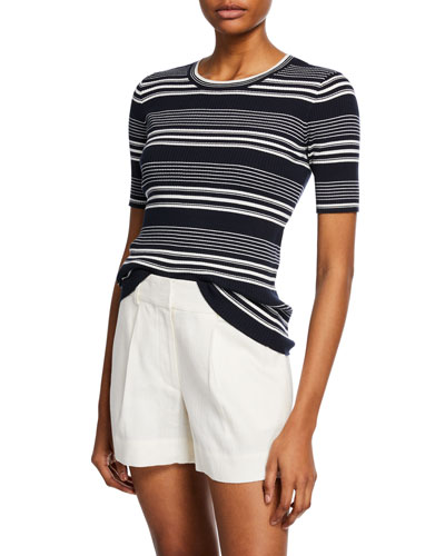 Panel-Stripe Ribbed Crewneck Tee