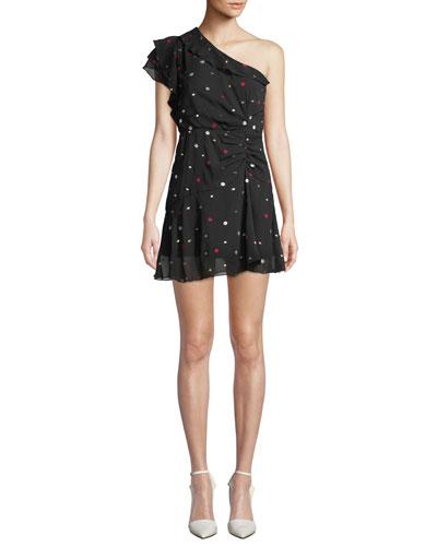 Say So Dot-Print Ruffle One-Shoulder Cocktail Dress
