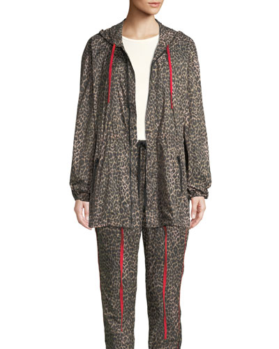 Hooded Leopard-Print Parka Jacket