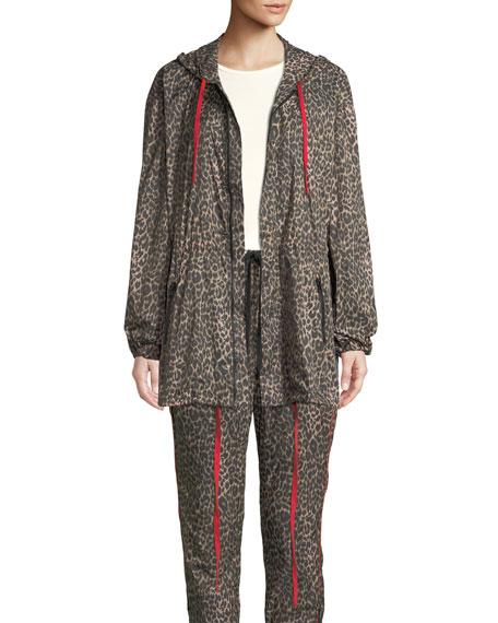 Pam & Gela Hooded Leopard-Print Parka Jacket