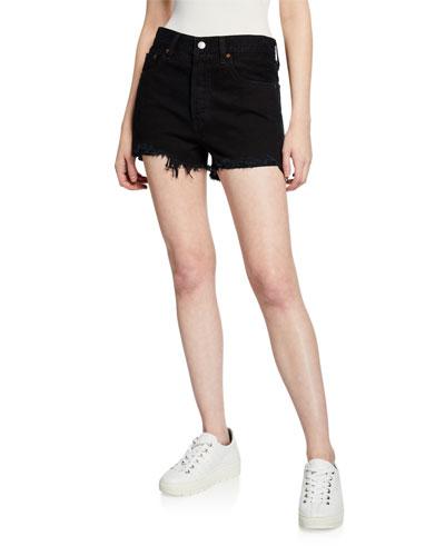 501 High-Rise Frayed Denim Shorts