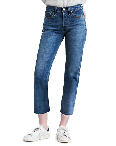 Wedgie Straight-Leg Jeans with Raw Hem