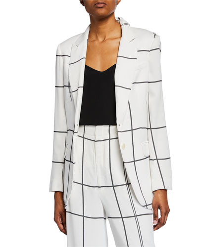 James Multi-Stripe Button-Front Blazer