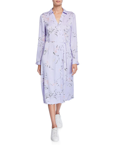 Fabienne Leaf-Print Long-Sleeve Midi Dress