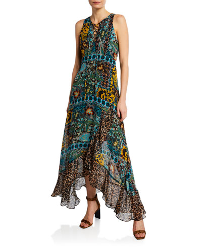 9cadbe4a6ad28 Quick Look. Nanette Lepore · Exotic Sleeveless Lace-Up Multi-Print Maxi  Dress