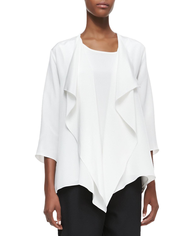 CAROLINE ROSE Silk Crepe Drape Jacket in White