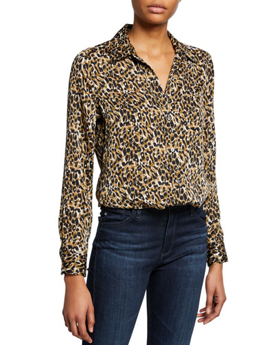 Brett Leopard-Print Button-Down Shirt