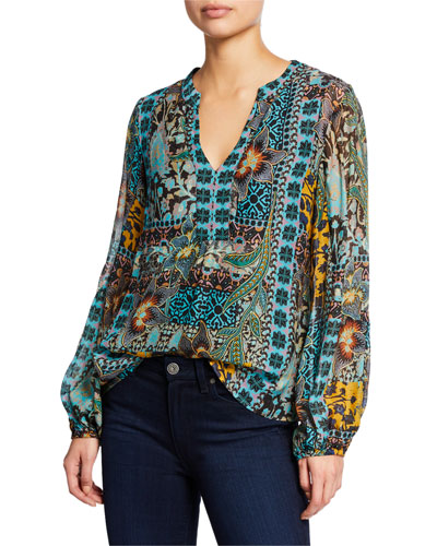 Patchwork V-Neck Long-Sleeve Top