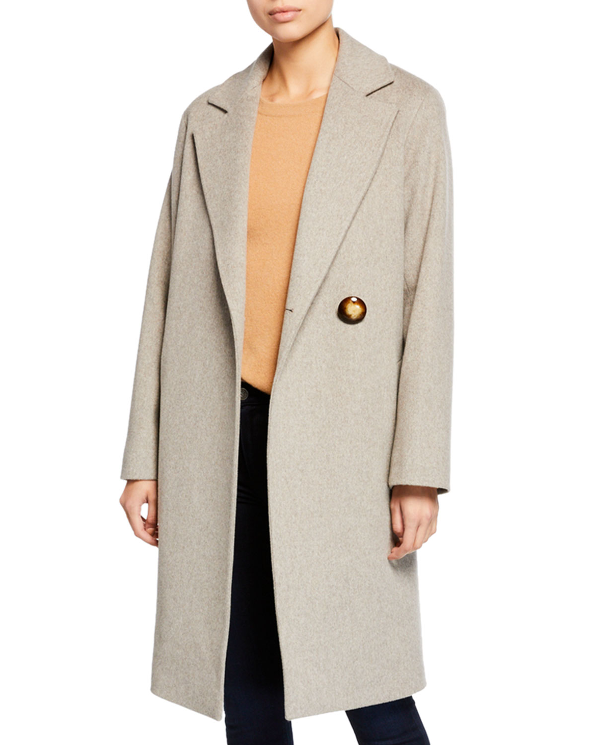 FLEURETTE Wool Asymmetric One-Button Midi Coat in Neutral Pattern