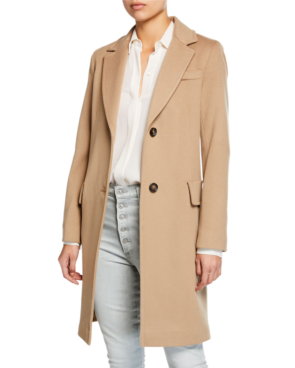 FLEURETTE Wool Two-Button Tailored Coat in Brown