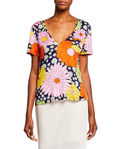 Ida Floral-Print Short-Sleeve T-Shirt
