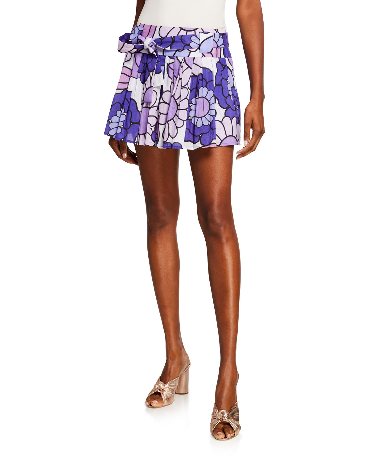 Dodo Bar Or MILLI PLEATED FLORAL-PRINT BELTED MINI SKIRT