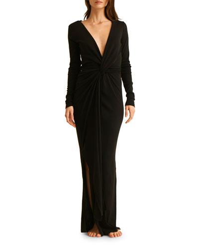 Adalia Long-Sleeve Wrap Coverup Dress