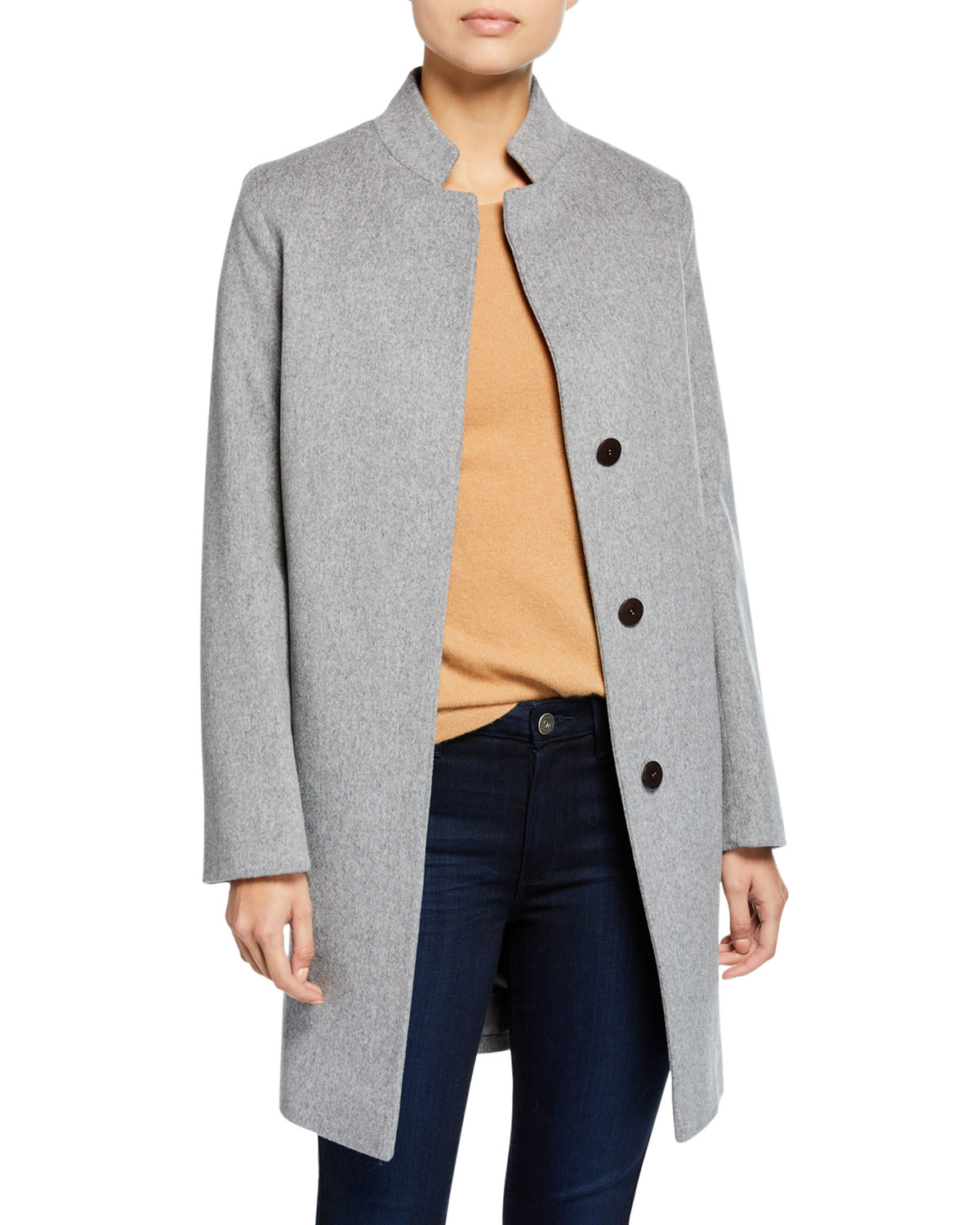 FLEURETTE Inverted-Collar Wool Coat in Gray