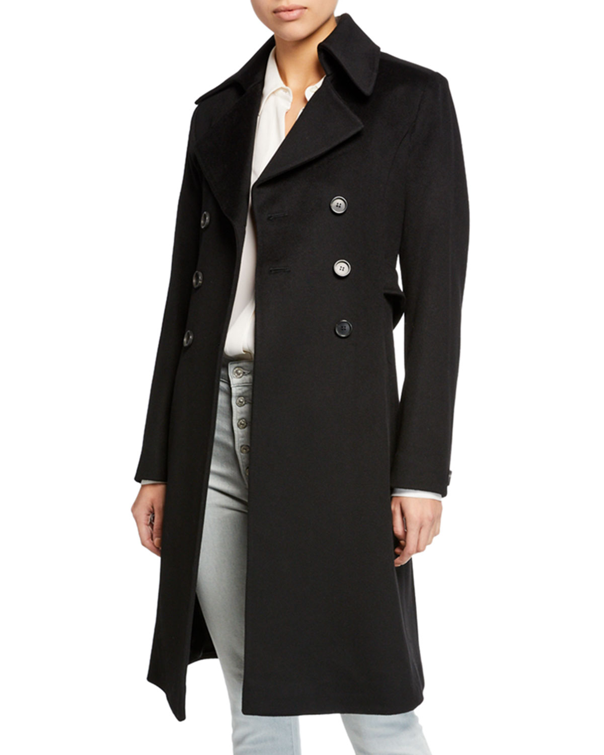 FLEURETTE Double-Breasted Back-Belt Wool Coat in Black