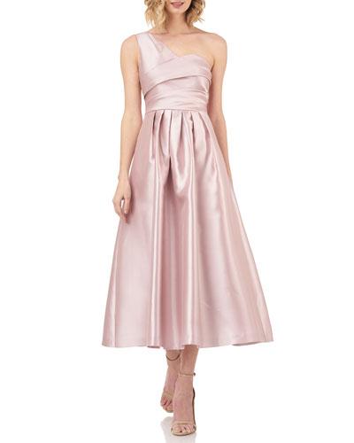 One-Shoulder Sleeveless Midi Dress