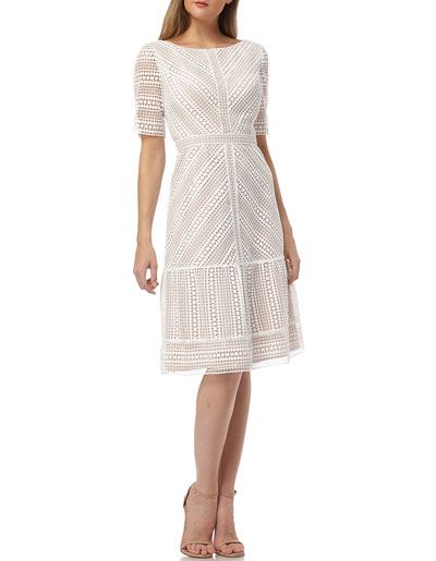 Mitered Lace Bateau-Neck Short-Sleeve A-Line Dress