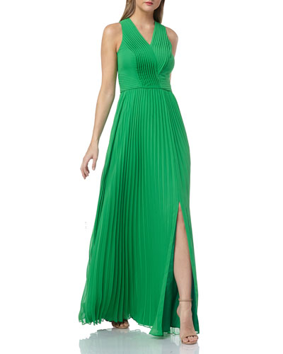 Sleeveless Chiffon Pleated Gown with Pintucked Bodice