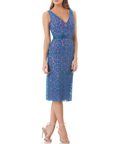 V-Neck Sleeveless Lace Sheath Dress with Grosgrain Ribbon