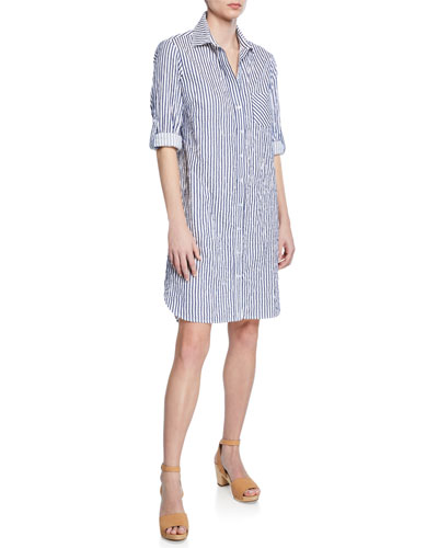 Petite Alex Spectator-Stripe Button-Front Long-Sleeve Shirtdress