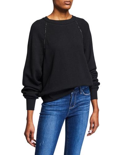 Daytona Raglan Pullover Sweatshirt w/ Chain Details