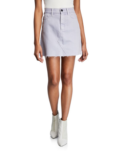 Aideen Raw-Edge Denim Short Skirt