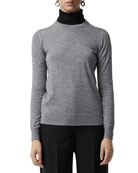 Burberry Bempton Crewneck Long-Sleeve Merino Wool Sweater