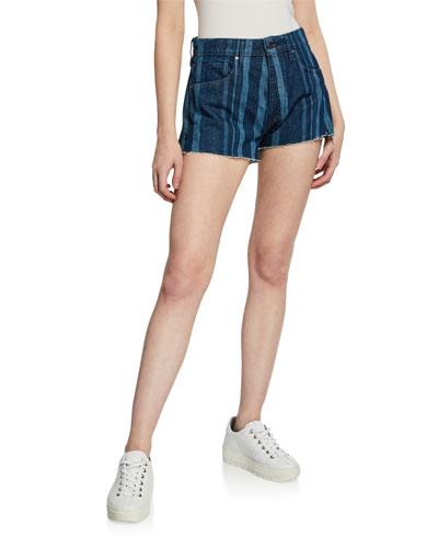 High-Rise Striped Denim Cutoff Shorts