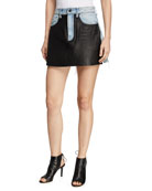 alexanderwang.t Bite Leather/Denim Frayed Mini Skirt
